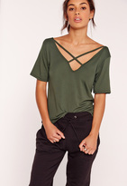 Missguided V Neck Cross Strap Front T Shirt Khaki