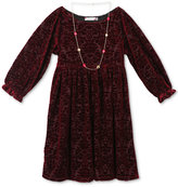 Speechless Velvet-Pattern Dress with Necklace, Big Girls (7-16)