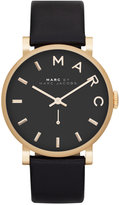 Marc by Marc Jacobs Watch, Women's Baker Black Textured Leather Strap 37mm MBM1269