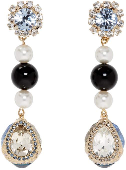 Erdem Blue and Gold Tear Drop Earrings