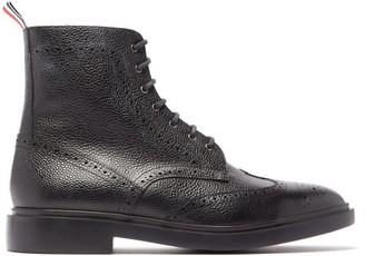 Thom Browne Wingtip Brogue Grained-leather Boots - Mens - Black