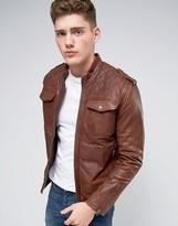 Pepe Jeans Pepe Artisan Leather Jacket Caramel