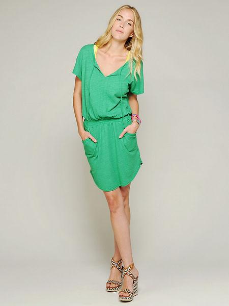 C&C California Short sleeve smock waist dress