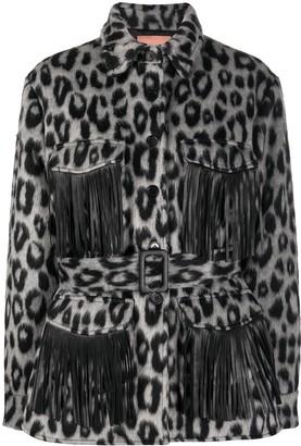 Andamane Fringe-Trim Leopard Print Jacket