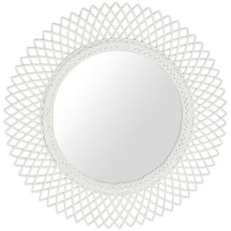 Kouboo Sunburst Decorative Wall Mirror in Rattan, White