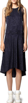 Zadig & Voltaire Roberto Jacquard Silk Dress with Lace