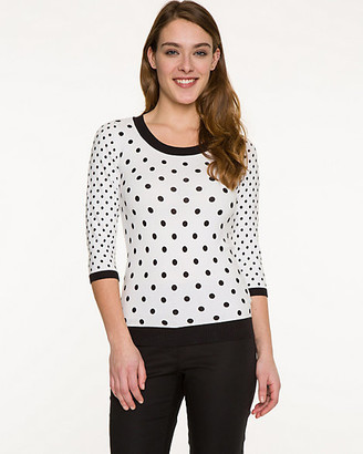 Le Château Polka Dot Cotton Blend Sweater