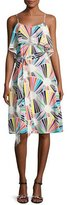 Trina Turk Isabel Sleeveless Geometric Silk Popover Dress, Multicolor