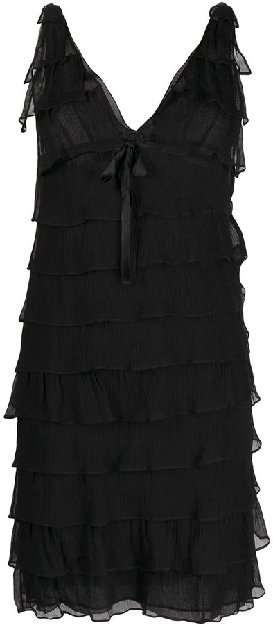 Prada Pre-Owned V-neck ruffled dress