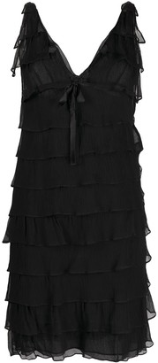 Prada Pre-Owned V-neck ruffled dress