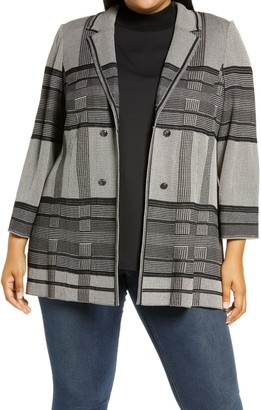 Ming Wang Plaid Knit Jacket