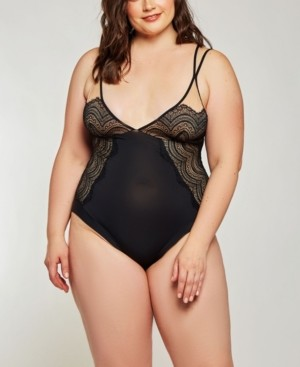 iCollection Plus Size Elegant Lace Overlay Day and Night Bodysuit, Online Only