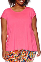 Liz Claiborne Short-Sleeve Extended-Shoulder Butterfly Back Tee - Plus