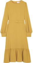 Co Belted Ruffled Crepe Midi Dress - Marigold