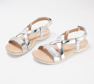 Spenco Orthotic Cross Strap Sandals -Grace Metallic