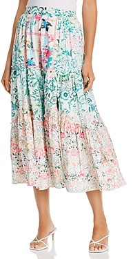 HEMANT AND NANDITA Cotton High Waist Printed Midi Skirt