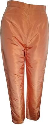 Balmain \N Orange Silk Trousers for Women Vintage
