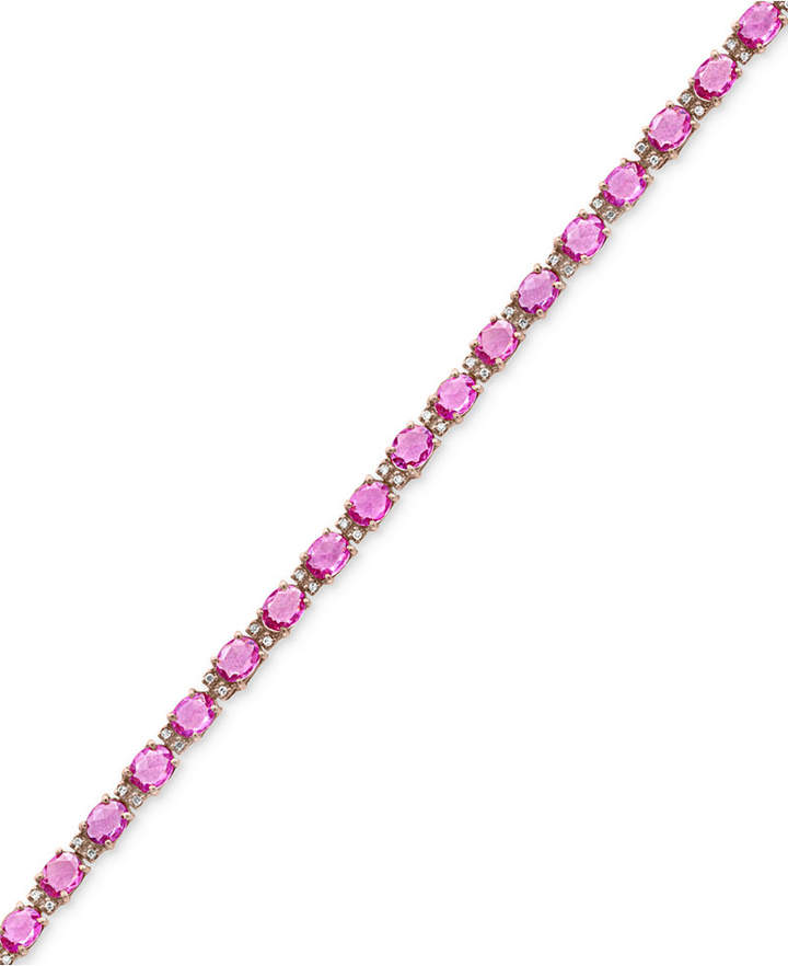 Effy Pink Sapphire (8-3/4 ct. t.w.) and Diamond (1/4 ct. t.w.) Tennis Bracelet in 14k Rose Gold, Created for Macy's