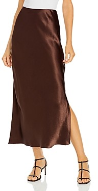 Vince Satin Side Slit Slip Maxi Skirt