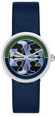 Tory Burch Reva Stainless Steel, Blue & Green Mosaic Dial & Leather Strap Watch