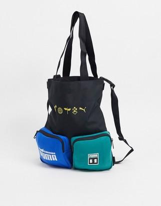 Puma x The Hundreds logo multi use bag in black
