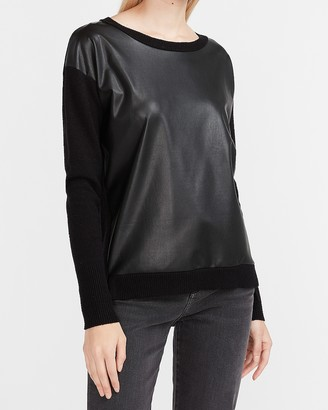 Express Vegan Leather Pieced High Slit Sweater