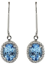 Effy Jewelry 14K White Gold Blue Topaz & Diamond Earrings, 2.07 TCW