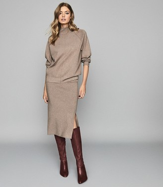Reiss ANDREA Knitted Funnel Neck Sweater Brown