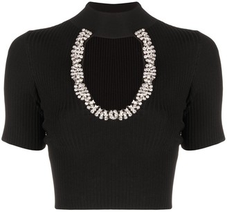 Area Rib-Knit Crystal-Embellished Crop Top