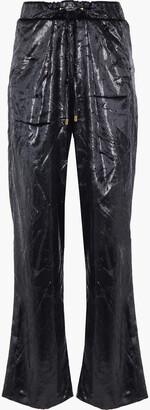 Balmain Metallic Crinkled-velvet Wide-leg Pants