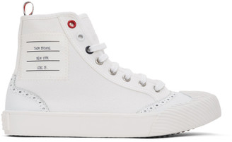Thom Browne White Vulcanized Brogued High-Top Sneakers