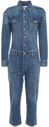 Current/Elliott The Crew Cropped Faded Denim Jumpsuit