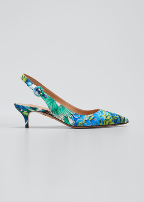 Aquazzura Tropical Kitten-Heel Sandals
