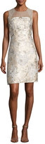 Elie Tahari Vera Sleeveless Floral Brocade Cocktail Dress, Light Beige