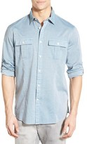 John Varvatos Men's Trim Fit Military Sport Shirt