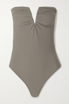 Alix Porter Strapless Ruched Stretch-jersey Bodysuit - Stone