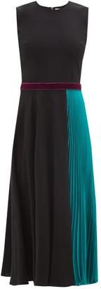 Roksanda Zahida Velvet-belt Pleated-panel Dress - Womens - Navy Multi