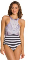 Kingdom & State Digital Coliseum Striped Racer Front One Piece Swimsuit 8127267