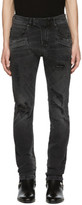 Pierre Balmain Black Destroyed Biker Jeans