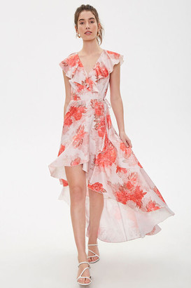 Forever 21 Satin Floral High-Low Wrap Dress