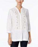 Charter Club Embroidered Linen Shirt, Only at Macy's