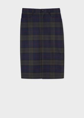 Paul Smith Women's Navy Tartan Check Wool-Blend Skirt