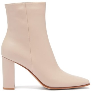 Gianvito Rossi Hyder 85 Leather Ankle Boots - Beige