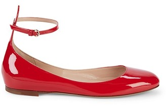 Valentino Patent Leather Ankle-Strap Ballet Flats