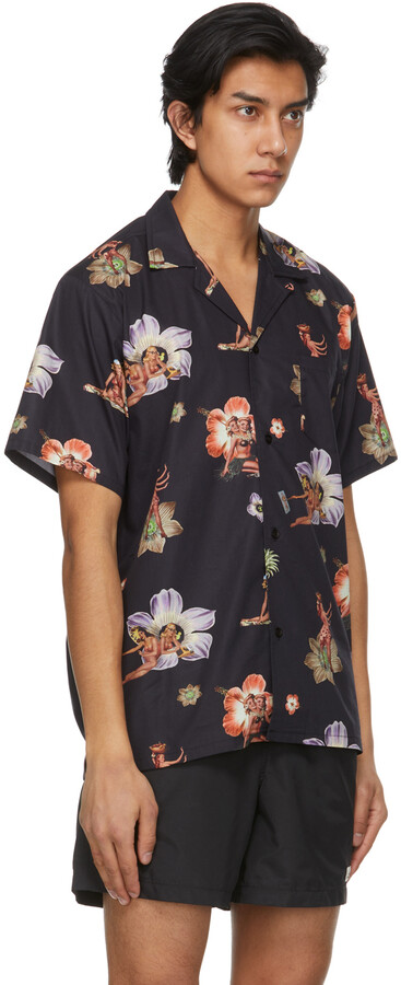 Thumbnail for your product : Bather Black Printed Camp Short Sleeve Shirt