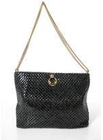 Whiting & Davis Black Chainmail Double Gold Strap Shoulder Handbag