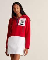 Au Jour Le Jour Color Block Floral Patch Hoodie Dress