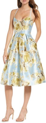 Eliza J Metallic Floral Fit & Flare Dress