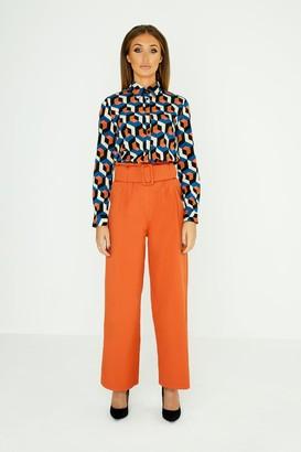 Girls On Film Studio Mouthy Burnt Orange Paperbag Trousers