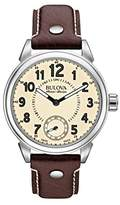 Bulova Accu Swiss Military Men's Mechanical Watch with Beige Dial Analogue Display and Brown Leather Strap 63A121